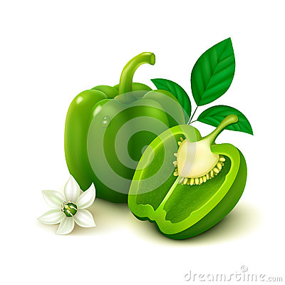 Free Green Bell Pepper (bulgarian Pepper) On White Background Stock Images - 48446894