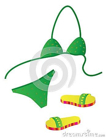 Green bikini and beach slippers