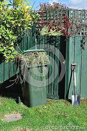 Green bin and spade in backyard