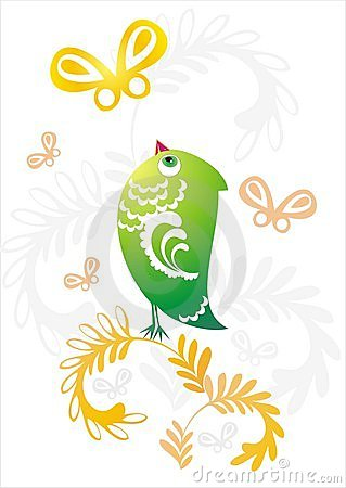 Green bird on decorative flower twig
