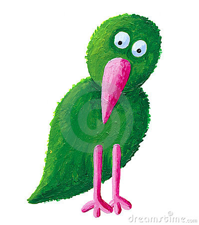 Green bird with pink beak