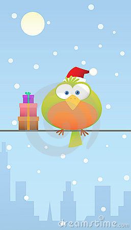 Green bird with santa hat and gift