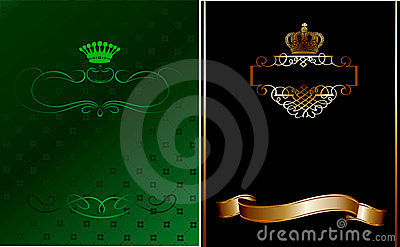 Green, Black And Gold Ornate Banner.