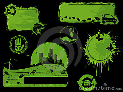 Green and black grunge eco design elements