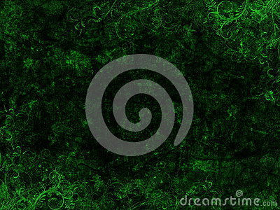 Green and Black Grunge Floral Background