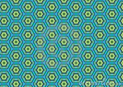 Green Blue Hexagon Pattern