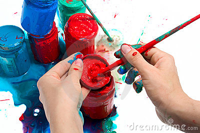 Green And Blue Jars Of Paint With Brush In Hand Royalty Free Stock Image - Image: 14948526