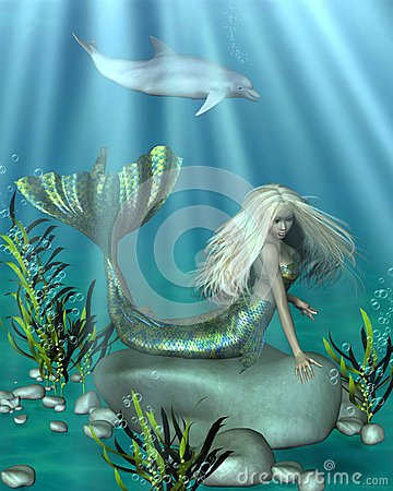 Green and Blue Mermaid Underwater