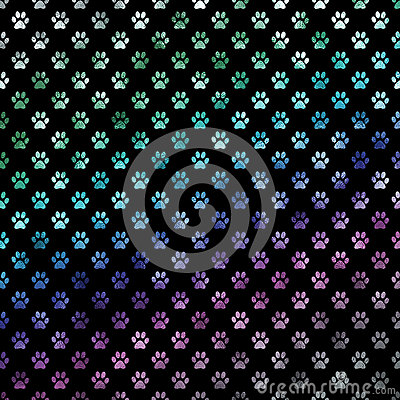 Free Green Blue Purple Rainbow Dog Paws Metallic Foil Polka Dot Paw Pattern Background Stock Images - 66964944