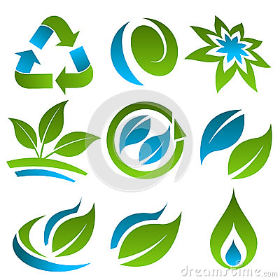 Green and Blue Recycling Eco Icons