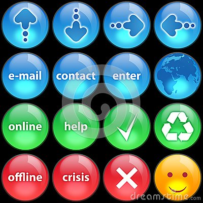 Green, blue and red buttons on black background