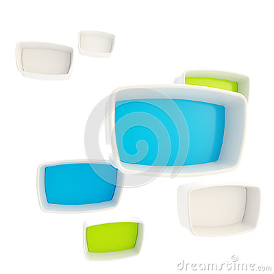Green and blue showcase plastic boxes