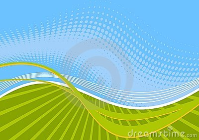 Green and blue wavy lines