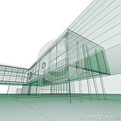 Green blueprint on white
