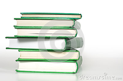 Green books stacked up