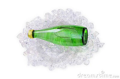 Green bottle of water on ice