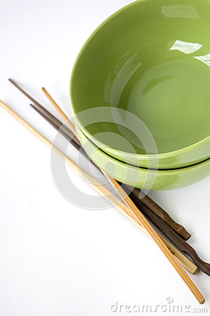 Green bowl and chopstick
