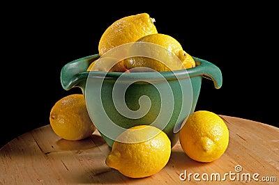 Green Bowl with Lemons