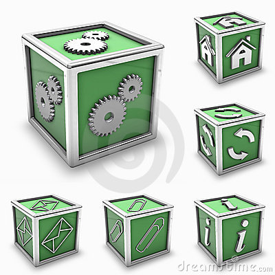 Green box icon set