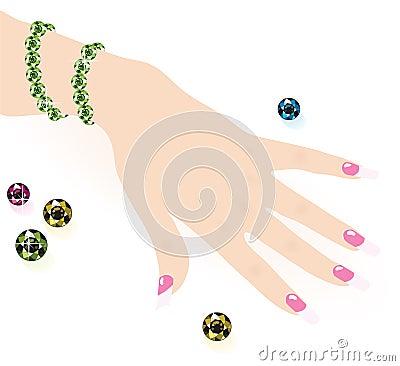 Free Green Bracelet On Woman Hand Royalty Free Stock Photos - 19951668
