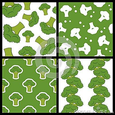 Free Green Broccoli Seamless Patterns Set Royalty Free Stock Photos - 43576078