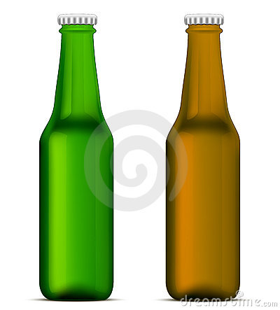 Green and brown beer bottles