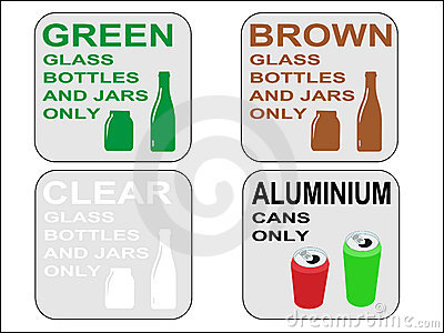 Green brown and clear bottles