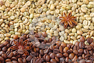 Green and brown coffee beans with anise stars