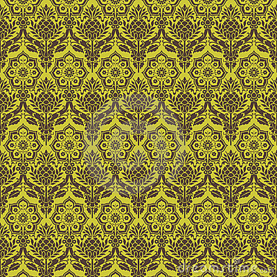 Green brown floral damask seamless pattern