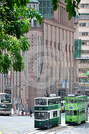 Green bus on Hongkong street Editorial Photo