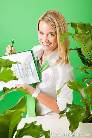 Green business office woman show charts plants