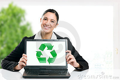 Green business recycling symbol