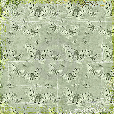 Green butterflies repeat pattern background