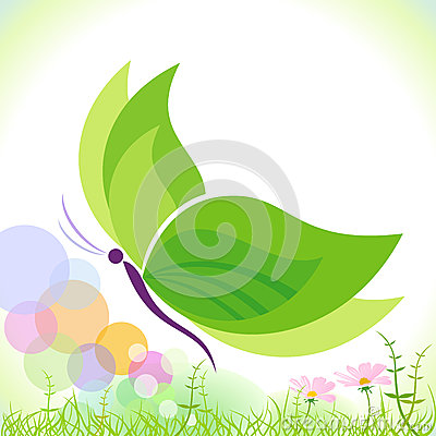 Free Green Butterfly - Save Our Planet Stock Photography - 25603492