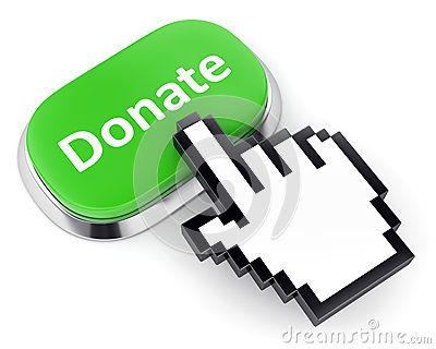 Green button donate and hand cursor