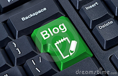Green button with icon blog.