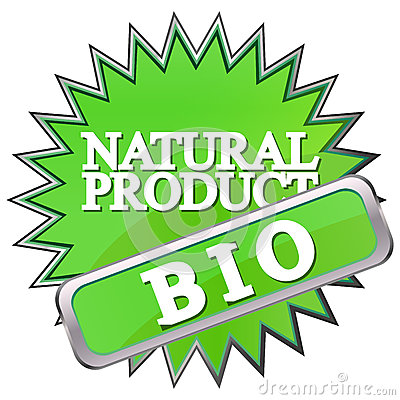 green button labeled natural product