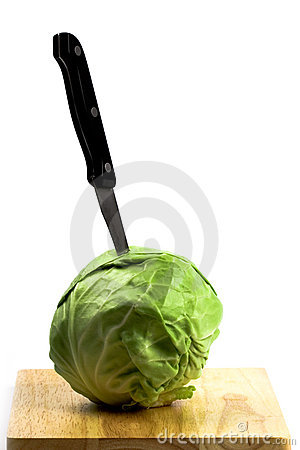 Free Green Cabbage With Knife Stock Photos - 14950643