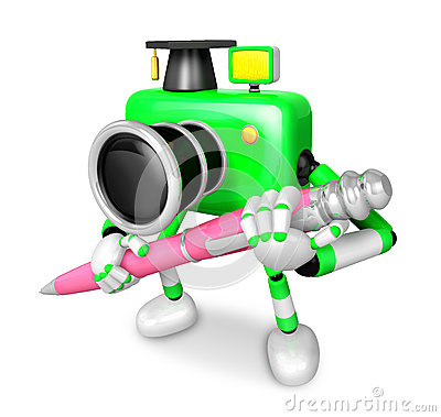 Green Camera Character ballpoint pen a handwriting. Create 3D Ca