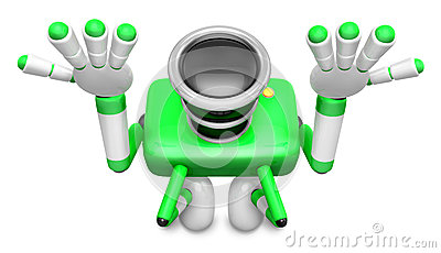 Green Camera Character kneel in prayer. Create 3D Camera Robot S