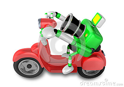 Green camera character the right motorbike driving. Create 3D Ca