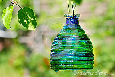 Green candle lantern with copy space