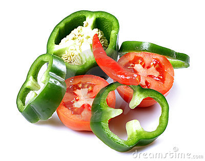 Green capsicum and tomatoes