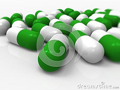 Green capsules, medical, pills, medicine, drugs