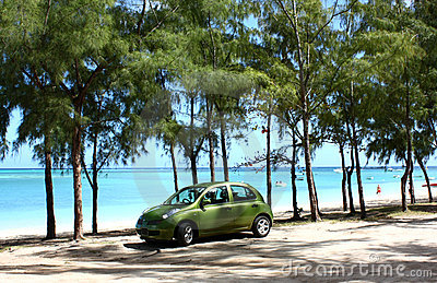 Green car on beach