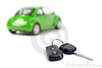 Green car and car key