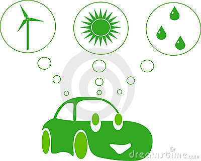 Green car with green energy