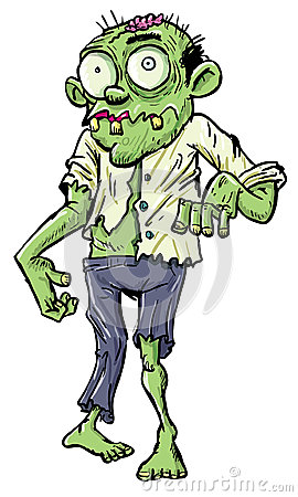 Green cartoon businessman zombie.