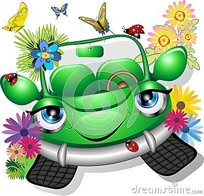Green Cartoon Car