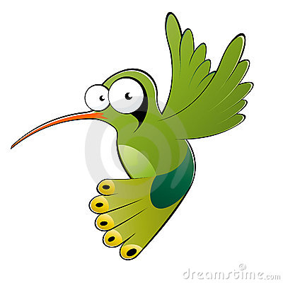 Green cartoon hummingbird